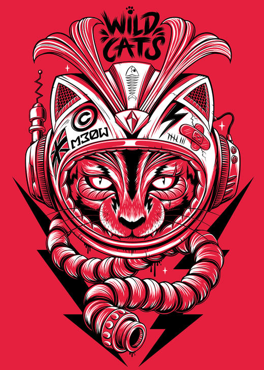Red Central Wild Cats Illustration